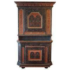 Original Decorated Early 19th Century Cabinet from Dalarna, Sweden, Dated 1822