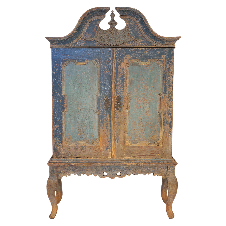 Original Decorated Mid 18th Century Swedish Baroque Cabinet