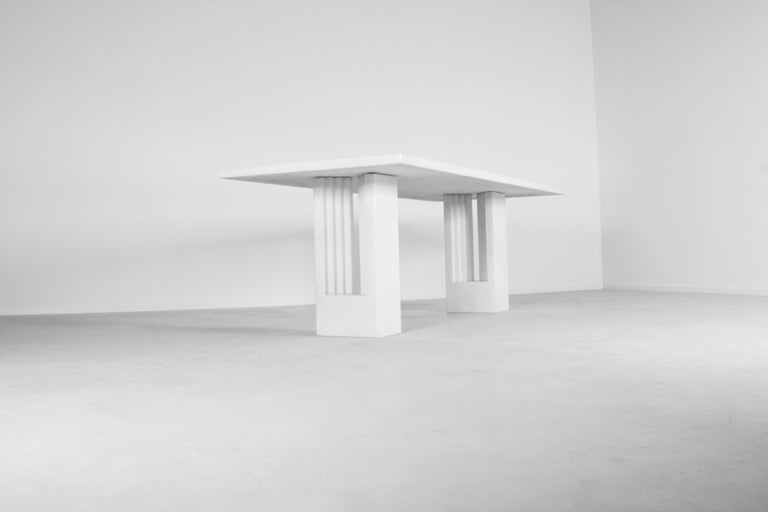 Original Delfi table in very good condition.  Manufactured by Gavina, Italy  Designed by Carlo Scarpa and Marcel Breuer  This particular table is made in a rare Bianco Cristallino marble with silver chips (See close up image)  As far as we know this