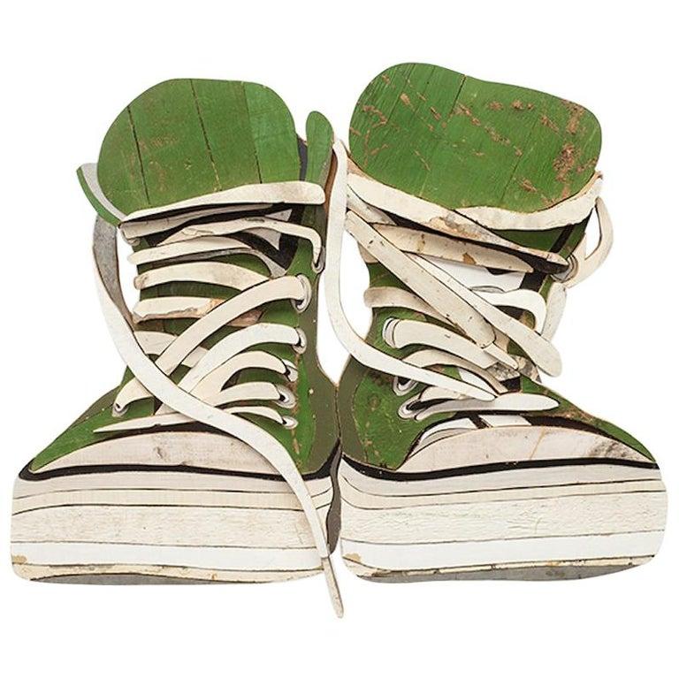 c8b9b877e66b61 Original Diederick Kraaijeveld Wood Pop Art Green All-Star Converse For Sale