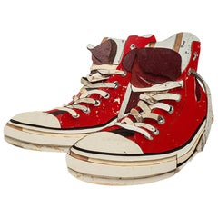 Original Diederick Kraaijeveld Wood Pop Art Red All-Star Converse