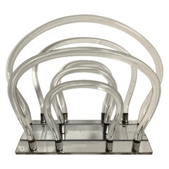 Original Dorothy Thorpe Lucite and Chrome Magazine Rack or Stand, 1960s