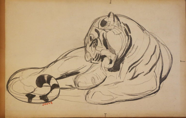 Original drawing on paper by Paul Jouve (1878-1973) representing a lying panther. Mixed techniques, circa 1925. Drawing on smoothed paper on cardboard. Signed