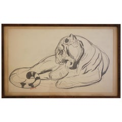 Original Drawing of a Panther by Paul Jouve, France, Art Deco, circa 1925