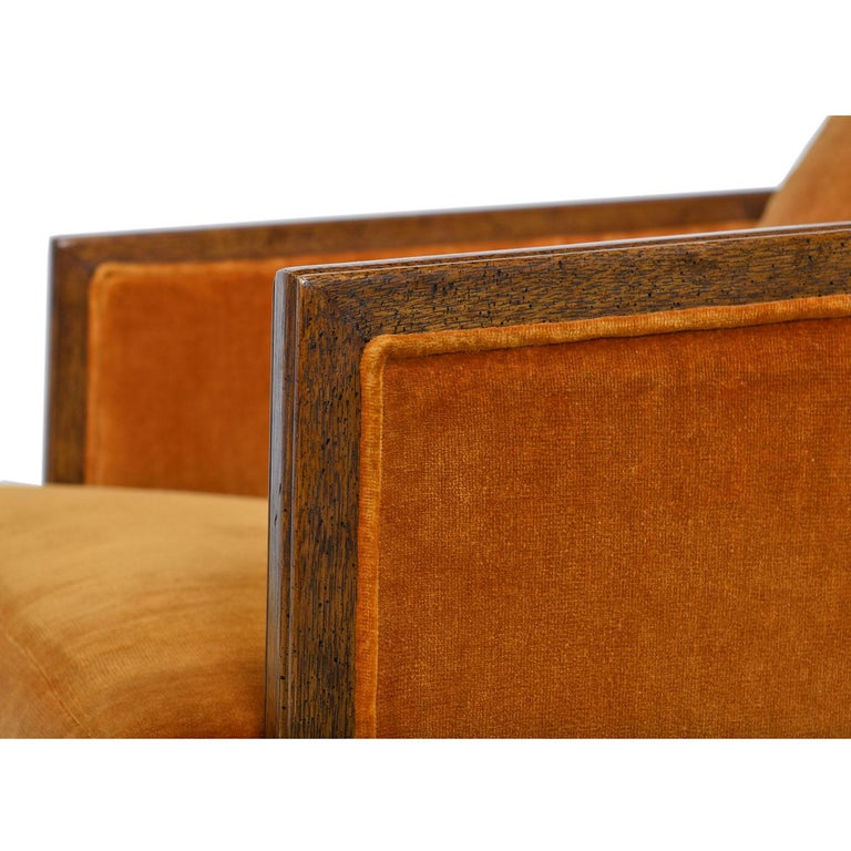 Original Drexel Heritage Persimmon Sunset Velvet Club Chair Set, circa 1970s For Sale 2