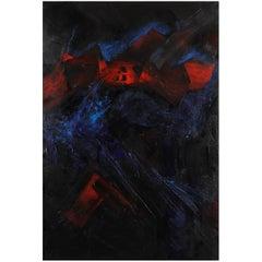 Original 'Du noir jaillit le rouge' Abstract Painting by Christian Piednoir