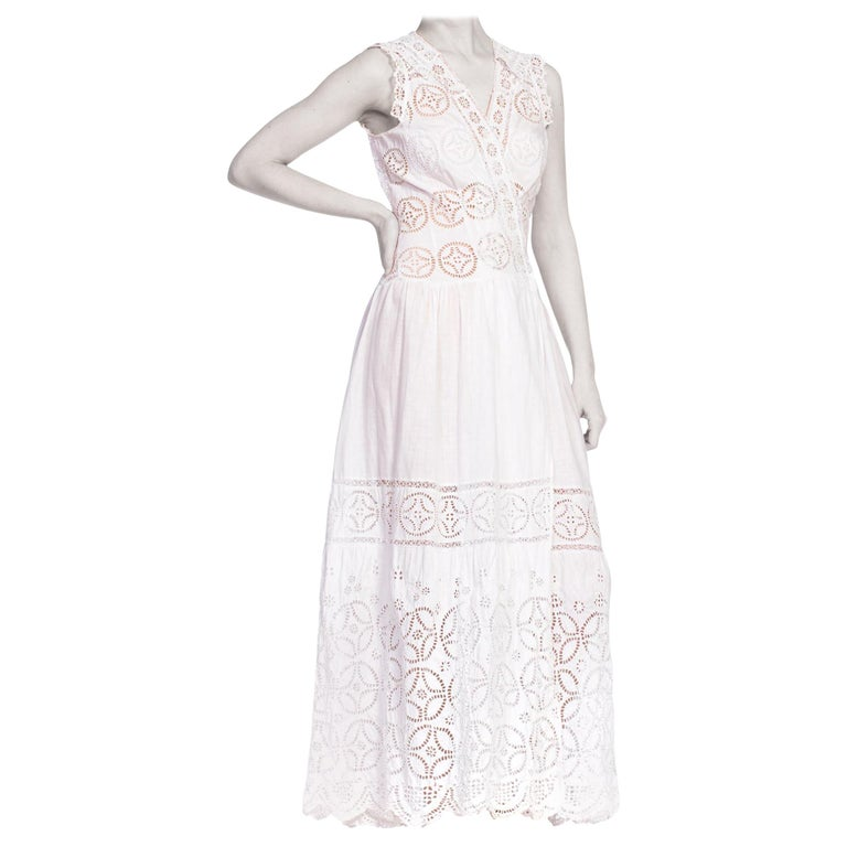 Original Duster Jacket Dress by Morphew Made from Edwardian Cotton Lace For Sale