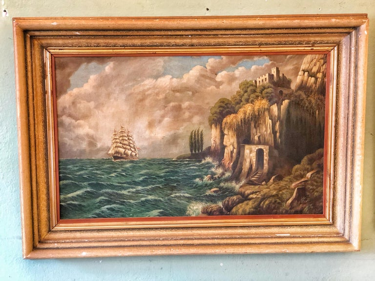 Romantic Original E. Pfeiffer Signed European Sea Boat Large Oil on Canvas Painting, 1936 For Sale