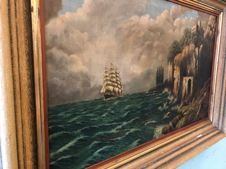 Unknown Original E. Pfeiffer Signed European Sea Boat Large Oil on Canvas Painting, 1936 For Sale
