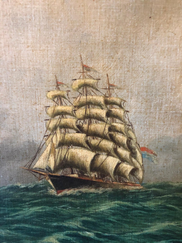 Original E. Pfeiffer Signed European Sea Boat Large Oil on Canvas Painting, 1936 In Good Condition For Sale In London, GB