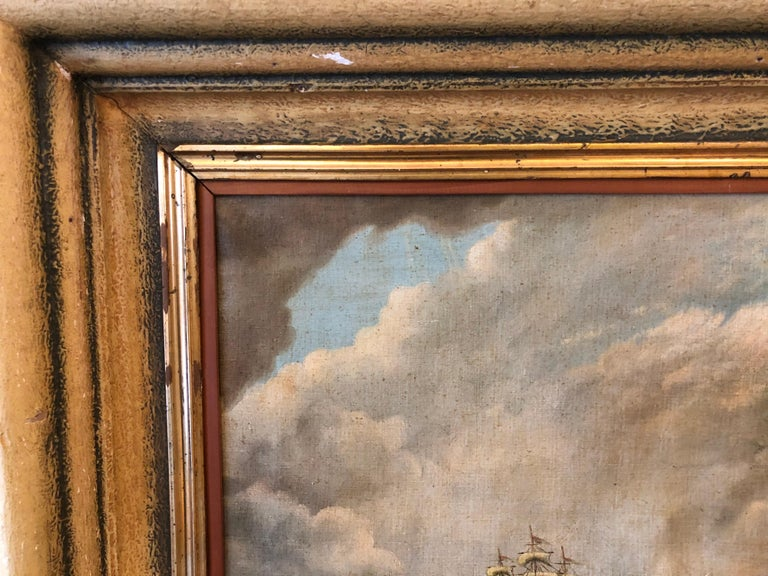 Mid-20th Century Original E. Pfeiffer Signed European Sea Boat Large Oil on Canvas Painting, 1936 For Sale
