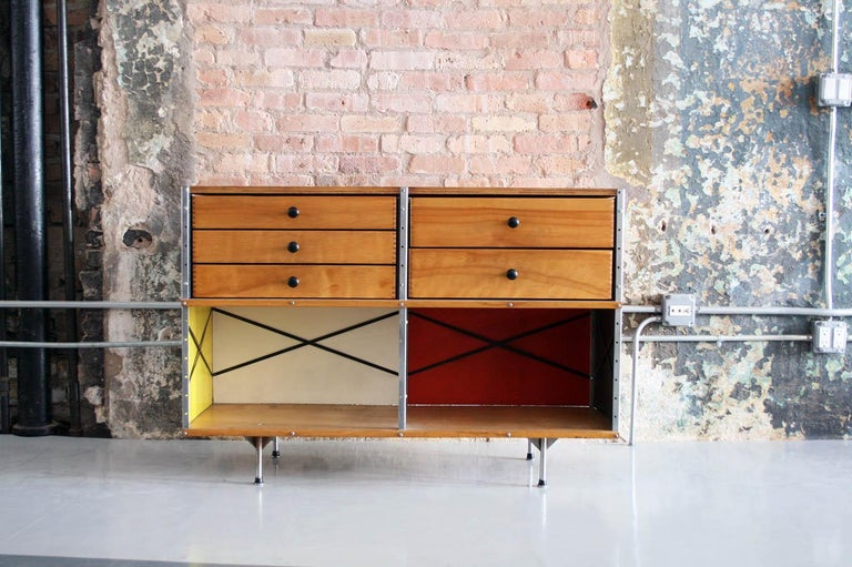 Here for your consideration is an original design by Ray and Charles Eames for Herman Miller 1950s USA. The ESU or 'Eames Storage Unit' this one is a second generation of the original design, distinguishable by the style of legs seen here. The legs