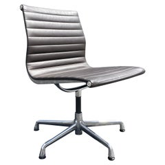Original Eames Leather Aluminum Group Side Chairs Herman Miller