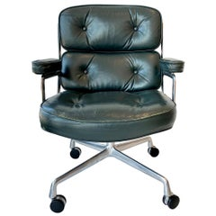 Original Eames Time Life Chairs in Forest Green Leather