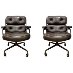 Original Eames Time Life Chairs in Olive Brown Leather