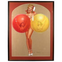 Original Earl MacPherson Pastel Painting of a Pin-Up Girl with Balloons, 1940s