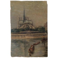Original Early 19th Century Painting of Notre Dame Cathedral and the Seine Paris