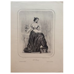 "Original Early 20th Century Antique French ""La Lionnel"" Engraving Print"