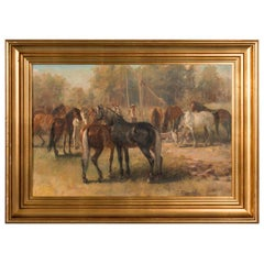 Original Early 20th Century Oil Painting of Horses