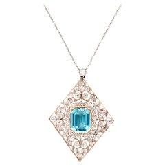 Original Early Art Deco Aquamarine and Old European Diamond Necklace Brooch