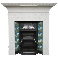 Original Edwardian Art Nouveau Cast Iron Fireplace