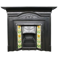 Original Edwardian Art Nouveau Cast Iron Fireplace Surround
