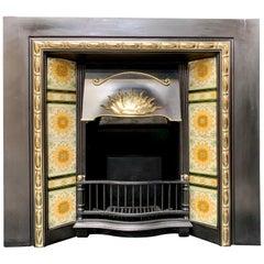 Original Edwardian Cast Iron and Brass, Tiled Fireplace Insert