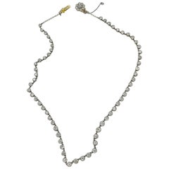 Original Edwardian Old European 9.50 Carat Diamond Platinum Gold Necklace