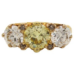 Original Edwardian Old Mine Cut Natural Fancy Yellow Three-Stone Diamond Ring