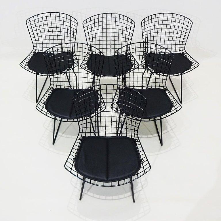 Original Eero Saarinen Black Marble Tulip Dining Table and Bertoia Wire Chairs For Sale 3