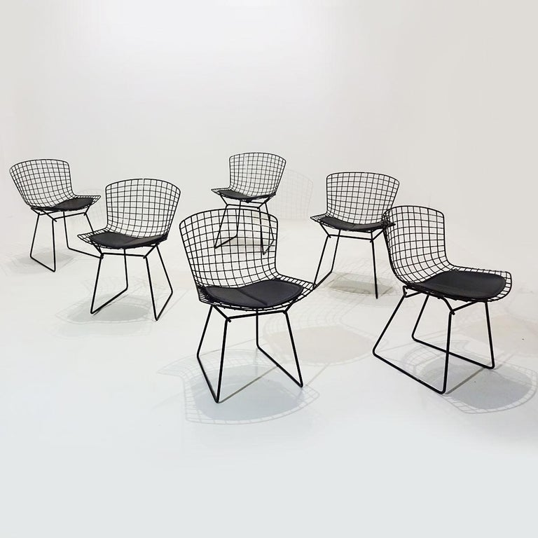 Original Eero Saarinen Black Marble Tulip Dining Table and Bertoia Wire Chairs For Sale 4