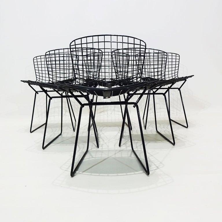 Original Eero Saarinen Black Marble Tulip Dining Table and Bertoia Wire Chairs For Sale 2