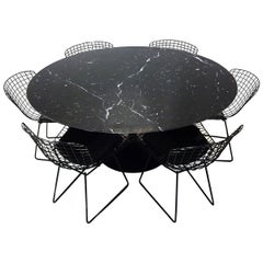 Original Eero Saarinen Black Marble Tulip Dining Table and Bertoia Wire Chairs