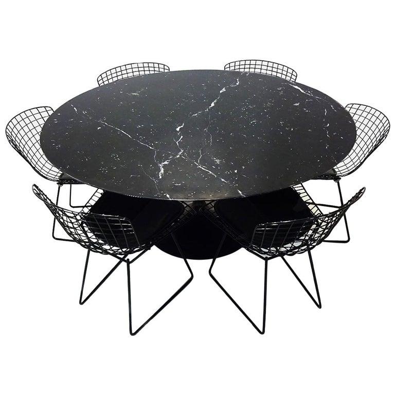 Original Eero Saarinen Black Marble Tulip Dining Table and Bertoia Wire Chairs For Sale