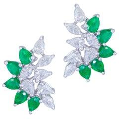 Original Emerald Diamond White 18 Karat Gold Earrings for Her