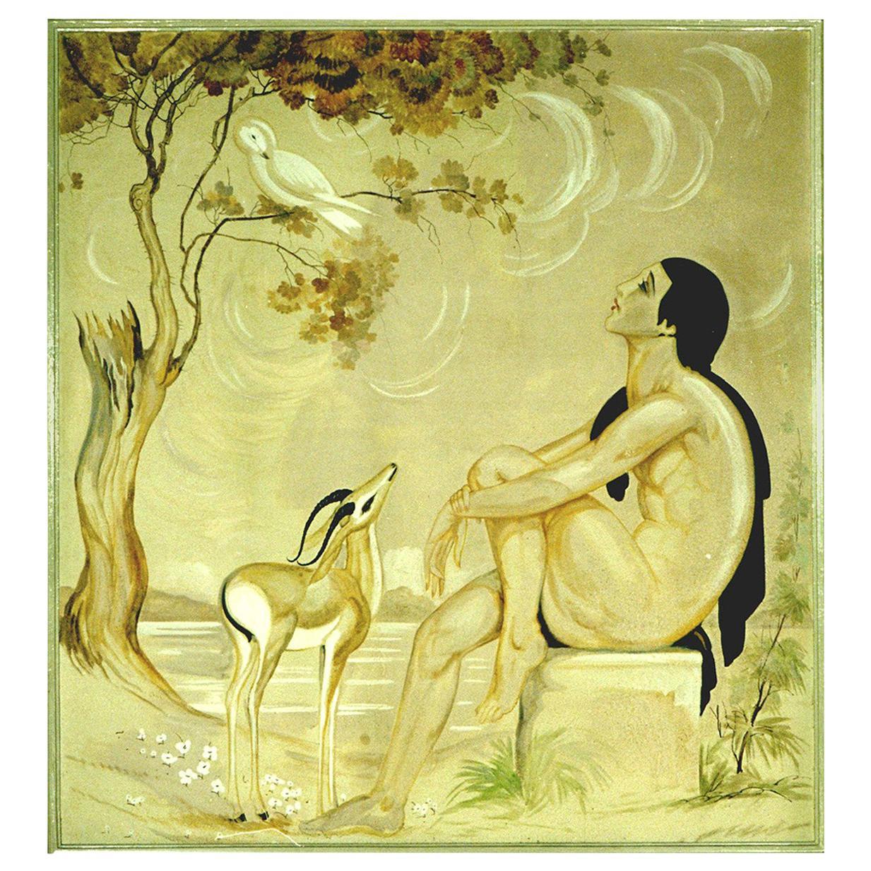 """Original Emile Aubry Art Deco Painting """"La Voix De Pan"""", Groupe Symbolique"""