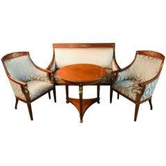 Original Empire Set of a Sofa 2 Armchairs and 1 Table Mahogany with Bronze Figur
