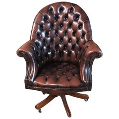 Original English Chesterfield Chair Full Leather Top Quality