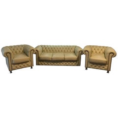 Original English Chesterfield Set of 3-Seat and 2 Armchairs in Cream Beige