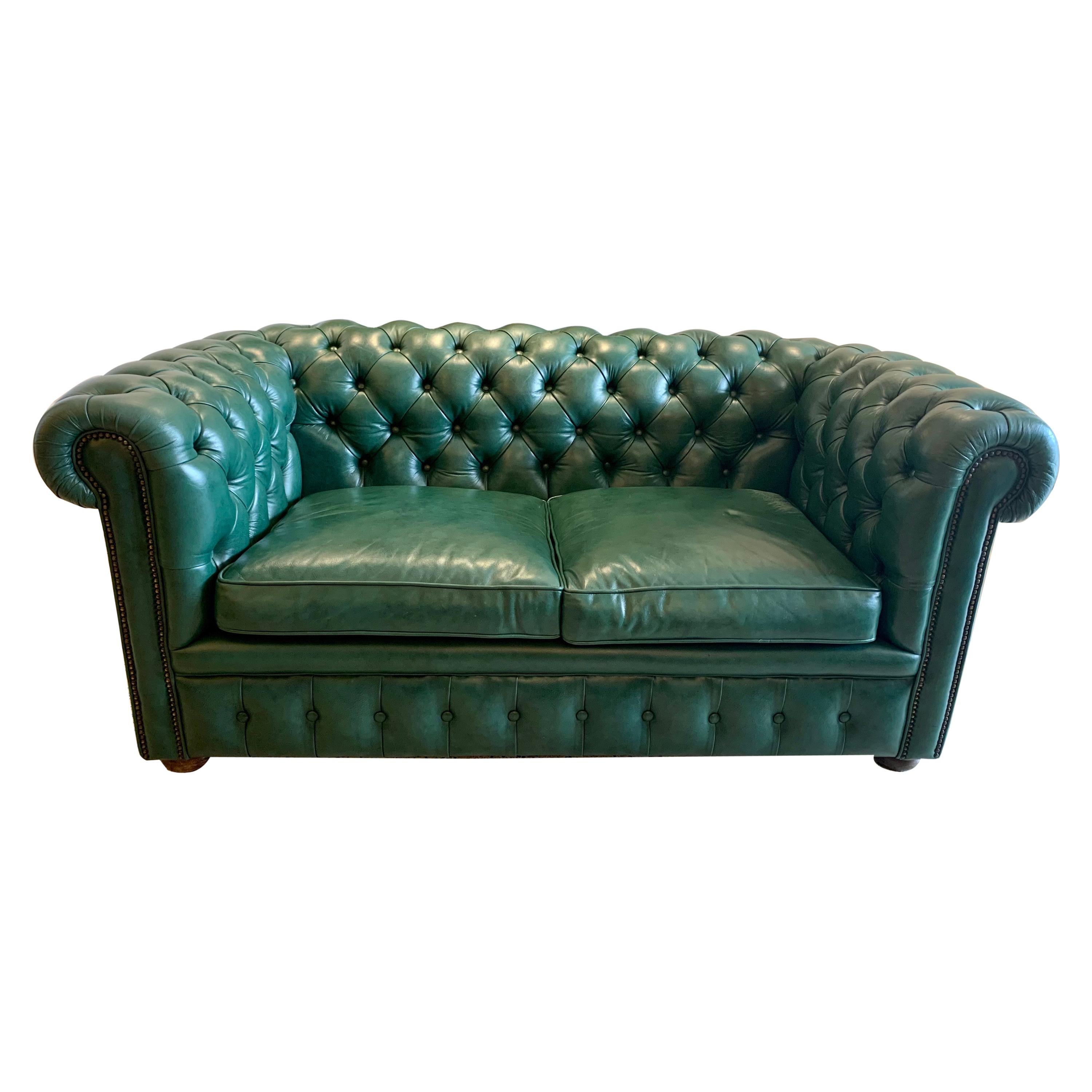Original English Hunter Green Chesterfield Leather Two-Seat Sofa