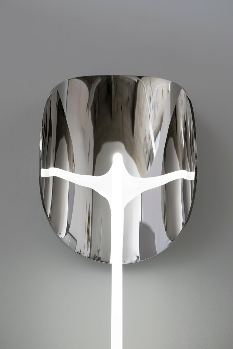 Stainless Steel Original Enlightened Wall Mirror, Maximilian Michaelis For Sale