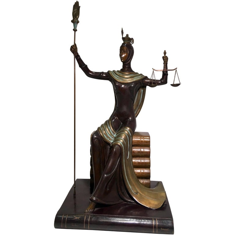 "Original Erte Bronze ""Justice"" Limited Edition Art Deco Style Sculpture For Sale"