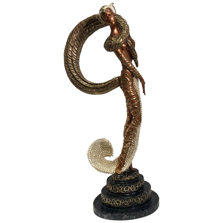 "Original Erte Bronze ""Masquerade"" Limited Edition Art Deco Style Sculpture For Sale"
