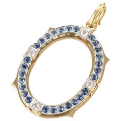 Sylva & Cie Original Estate Art Deco Diamond and Sapphire Pendant in 18k Gold