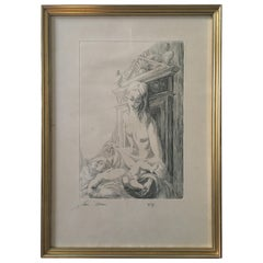 Original Etching by Listed French Artist Jean Victor Adam, Signed