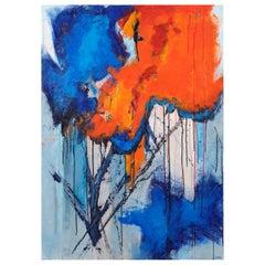Original 'Expression Lyrique en Bleu et Orange' Abstract Painting