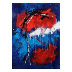 Original 'Expression Lyrique en Bleu et Rouge' Abstract Painting