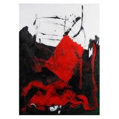 Original 'Expression Lyrique en Rouge et Noir' Abstract Painting