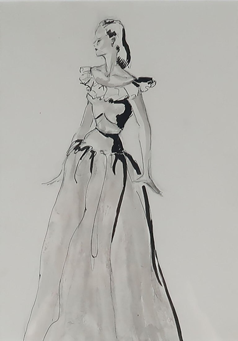 Mid-Century Modern Original Fashion Drawing, Pat Kerr, 1946 For Sale