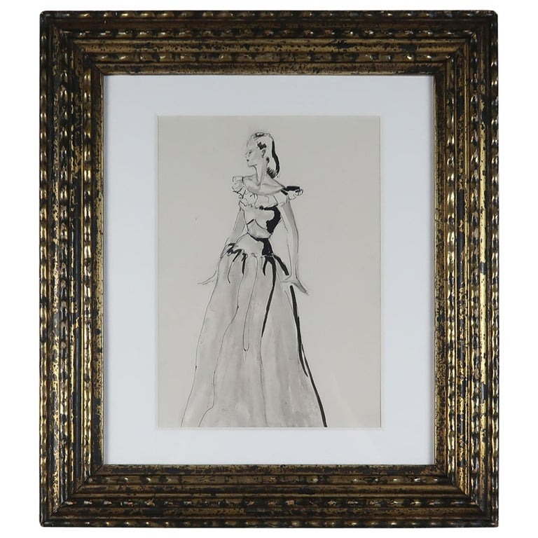Original Fashion Drawing, Pat Kerr, 1946 For Sale